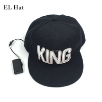 Wholesale 10 Pcs KING Glowing Hat Neon Light LED Caps Glowing Cap Powered By DC 1
