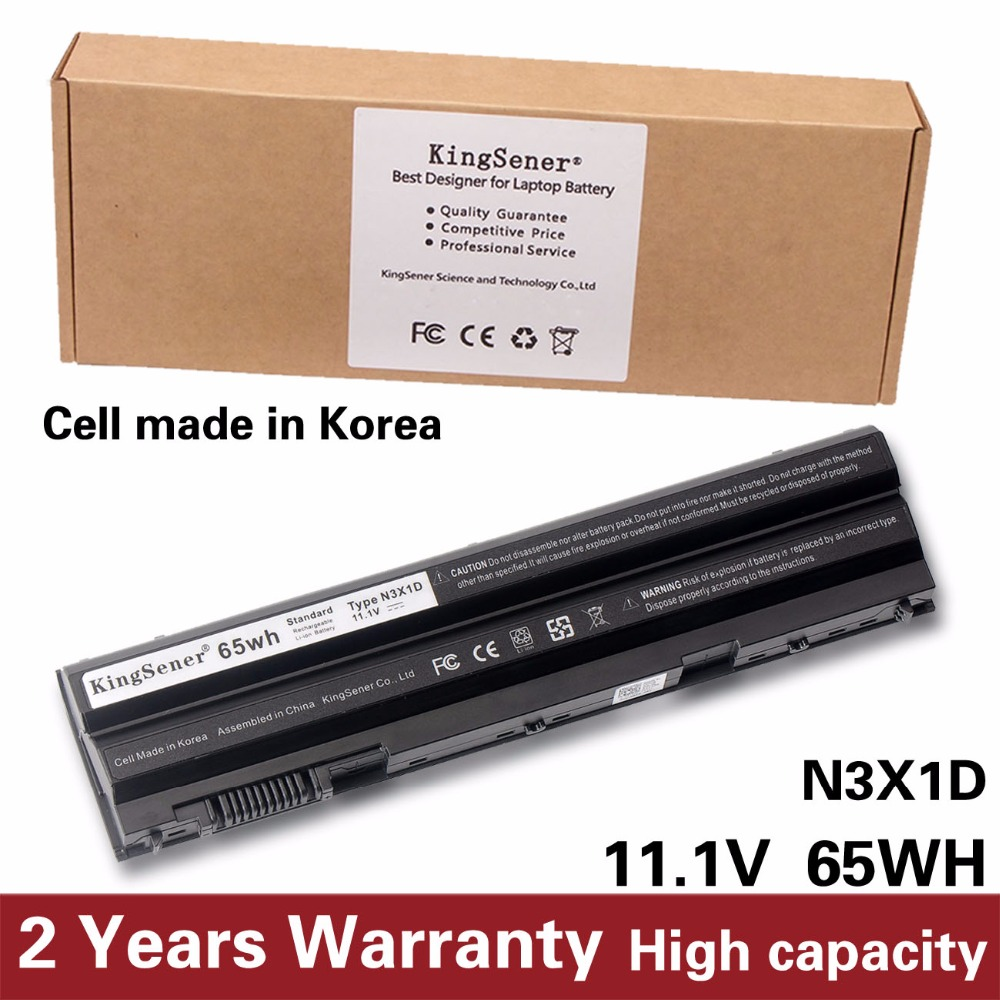 KingSener Korea Cell 65WH N3X1D Battery for DELL Latitude E5420 E5430 E5520 E5530 E6420 E6520 E6430 E6440 E6530 E6540 8858X hsw 11 1v 31wh laptop battery for dell latitude 12 7000 e7240 latitude e7240 latitude e7250 latitude e7440 akku