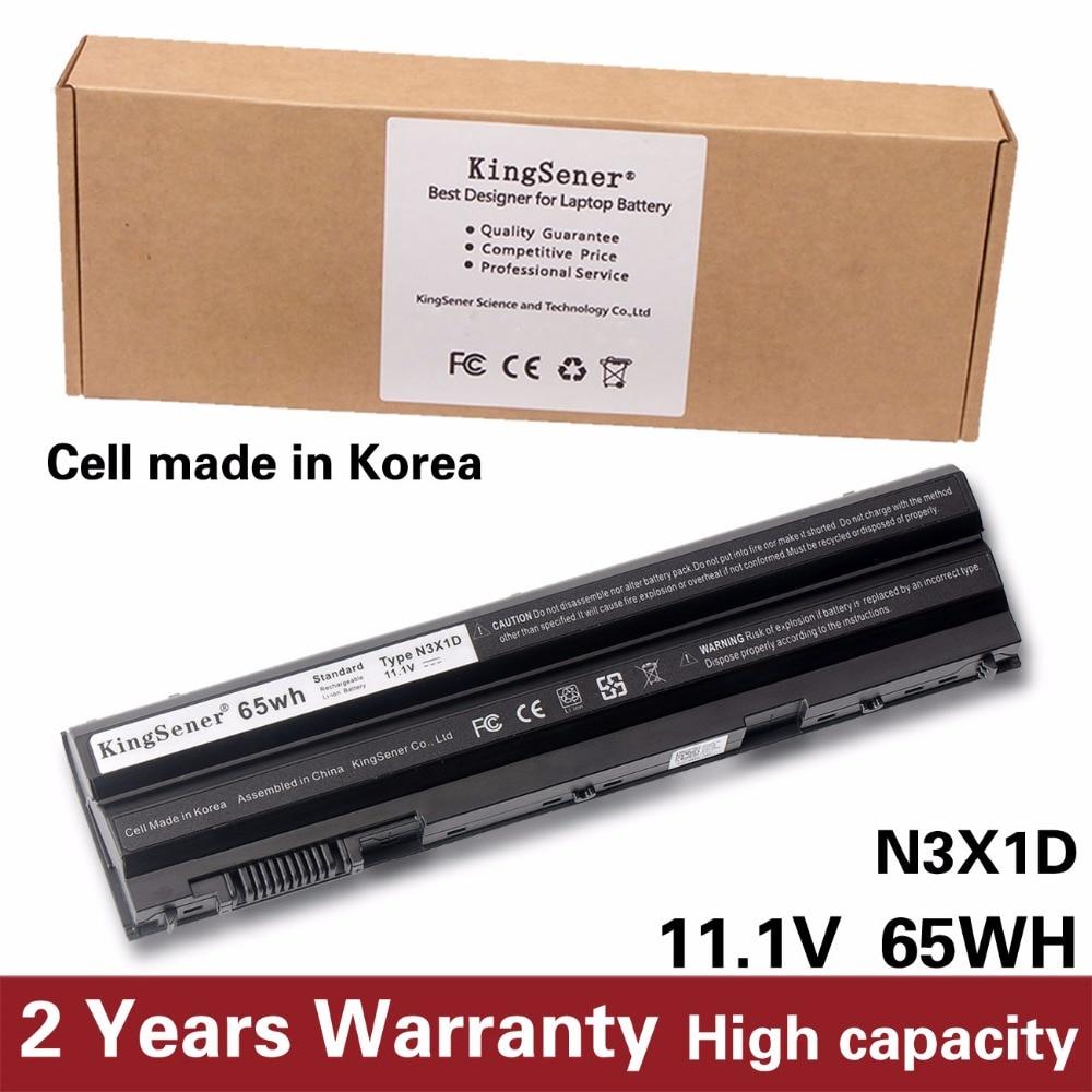 KingSener Korea Cell 65WH N3X1D Laptop Battery for DELL Latitude E5420 E5430 E5520 E5530 E6420 E6520 E6430 E6440 E6530 E6540 kingsener 11 1v 32wh laptop battery 7ff1k rfjmw for dell e6320 e6330 e6220 e6230 e6120 frr0g kj321 k4cp5 j79x4 p7vrh