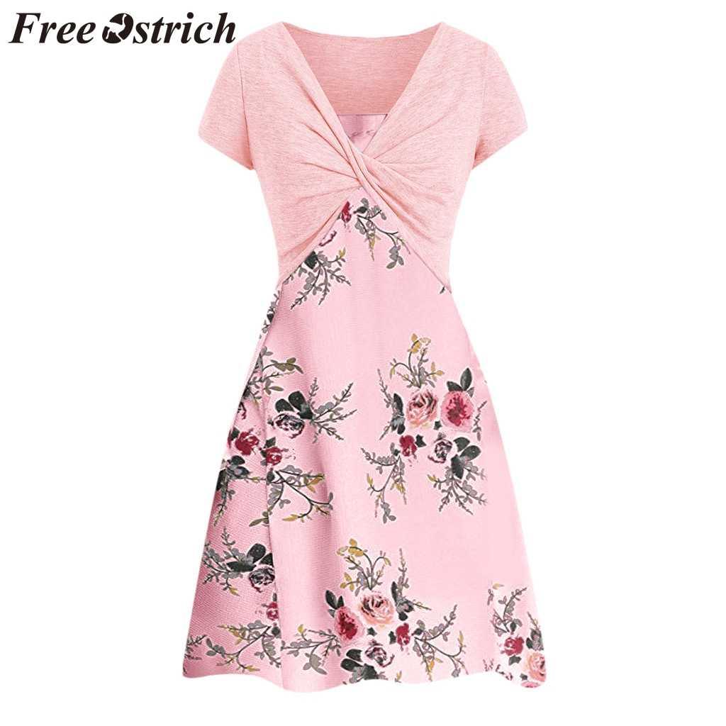 무료 타조 여성 드레스 핑크 소녀는 정장 v-목 느슨한 인쇄 짧은 소매 위엄있는 고귀한 추세 우아한 여름 짧은 드레스