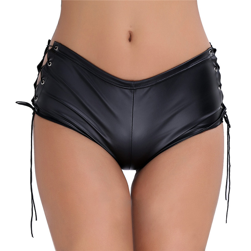 ChicTry Women Black Patent Leather Lace Up Hot Mini Shorts Nightclub Rave Party Pole Dance Shorts Stage Performance Sexy Shorts