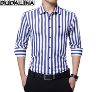 DUDALINA 2017 New Fashion Striped Shirt Men Long Sleeve Shirt Men Clothes Slim Fit Casual Men