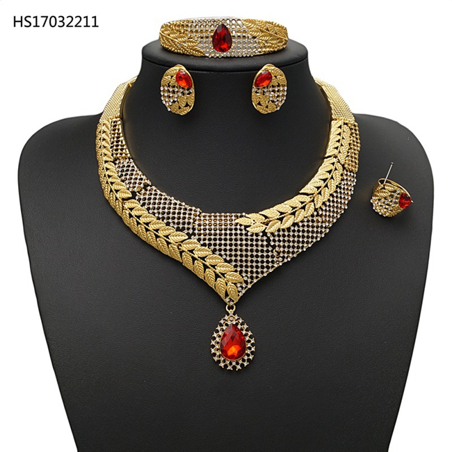 YULAILI African Jewelry Set Gold Color Costume Wedding Jewellery for Women Fashion Round Bridal Necklace Accessories