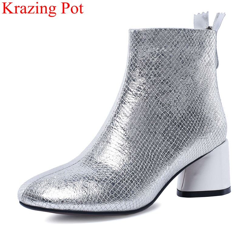 Krazing Pot 2018 new arrival cow leather round toe solid ankle boots zipper strange style sweet office lady winter shoes L1 krazing pot winter kid suede cow leather patch work high heel basic boots winter zipper round toe office lady ankle boots l12