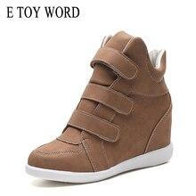 E TOY WORD Hidden Heel Women sneakers Spring Autumn Hook Loop High Top Casual Shoes Comfortable Platform student women shoes converse kids shoes hoop loop high cut comfortable casual sneakers 654191c ys