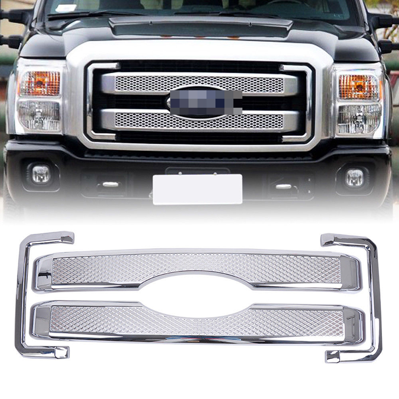 Car Racing Grille For Ford F250 F350 Grill Superduty 2011-2016 Mesh All Chrome Radiator Front Bumper Bezel Covers Lower Modify 2pcs car racing grille for ford fiesta 2014 2015 2016 grill abs black radiator chrome front bumper upper lower modify mesh