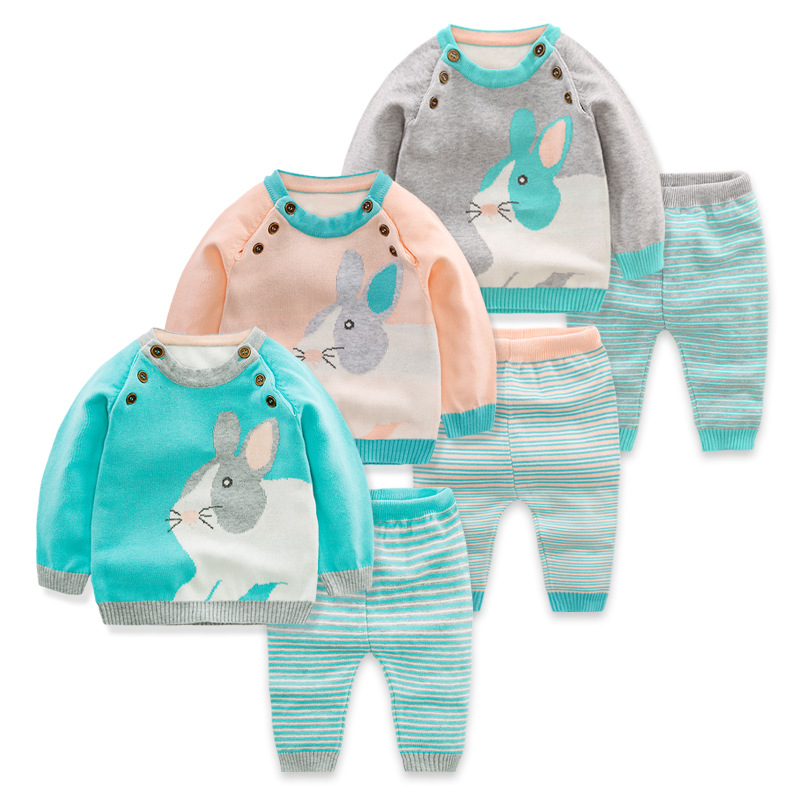Autumn Winter Kids Stripe Bunny Children Sets Sweater Pants for Baby Boys Girls Tiny Cotton Cartoon Rabbit Sweater Knit Shirts autumn winter kids stripe bunny children
