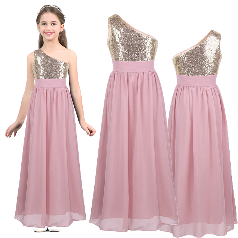 Flower     Girl     Dress   One Shoulder Sequined Chiffon Teen   Girls   Wedding Party   Dress   Vestido de festa   Girls   Princess Summer   Dress