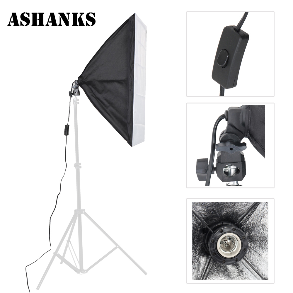 ASHNAKS Photo Studio Softbox Photographic Equipment Tent 50x70cm with Single Lamp Holder For Fotografica E27 Continuous Lighting ashanks photographic equipment 5 e27 socket lamp holder with 60x90cm softbox photo studio light tent box kit continuous lighting