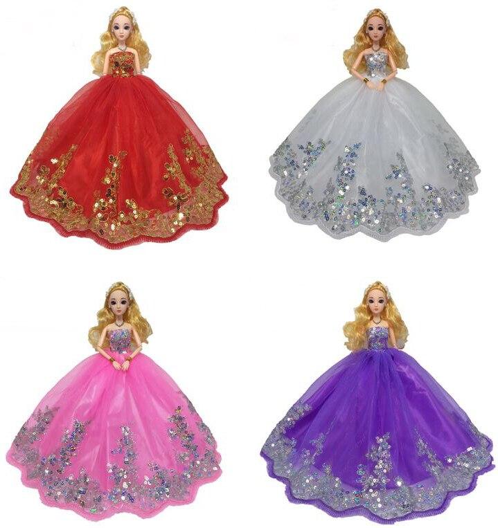 NK One Set nouvelle robe de mariée de poupée de mode avec beaucoup de paillettes d'or faites pour s'adapter à Barbie poupée enfants cadeau robe JJ