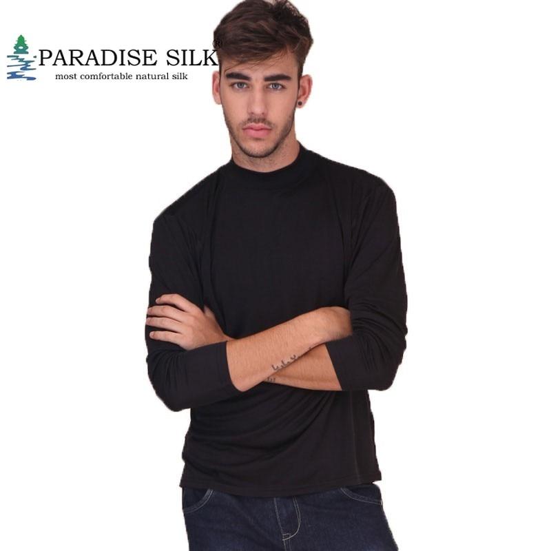 Erkek Kıyafeti'ten Tişörtler'de Erkek Mock Balıkçı Yaka Rahat Üstü % 100% Saf Ipek Örgü Dip Gömlek Düz Boyutu M L XL XXL'da  Grup 1