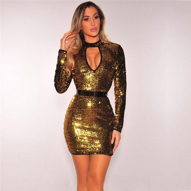 fashion vestidos sexy women gold sequin dress elbise glitter dress ladies  patchwork vestidos jurken womens clothing short jurken f6208fe29d