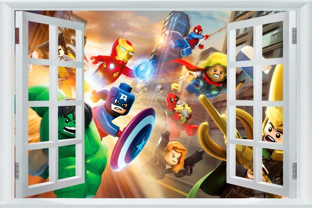 Buy avengers sticker captain america for Decoration chambre lego