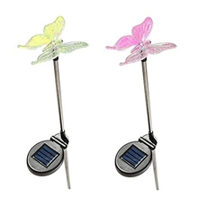 JFBL Hot Solar Powered Butterfly Garden Stake Landscape Color Change Lights  (Set Of 2)