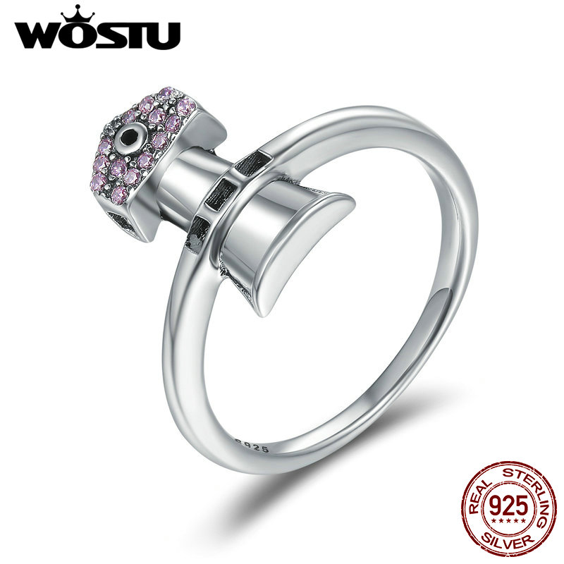 WOSTU Brand New 100% 925 Sterling Silver lighthouse Ring The Shore Beacon Rings for Women S925 Silver Jewelry FIR210