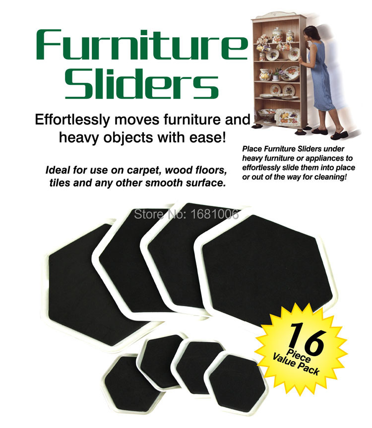 sexangular Furniture sliders,8 large slider and 8small,Easy moves furniture and heavy objects with ease, protect floors FP001
