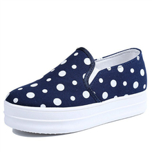 2016 Summer Polka Dot Women's Loafers Casual Canvas Espadrilles Platform Breathable Jogging Zapatos Mujer