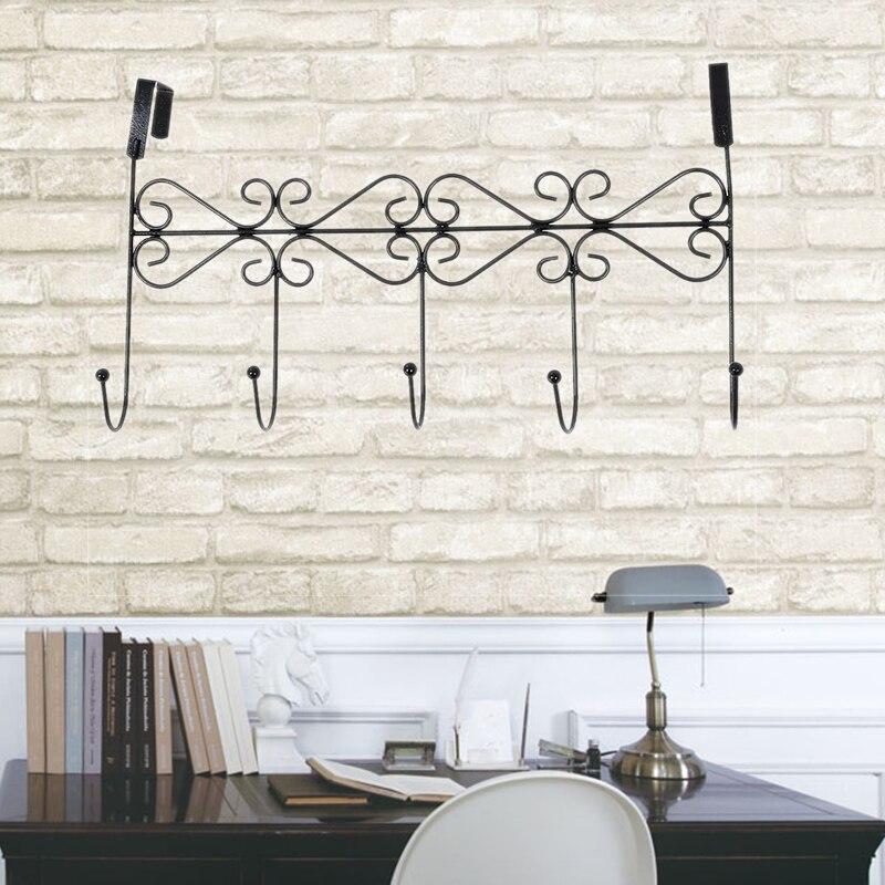 5 Hanger Black Towel Hat Coat Clothes Wall Hook Over Door Bathroom