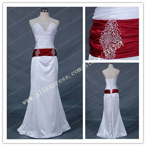 Mermaid Red Belt And White Beads Wedding Dresses In