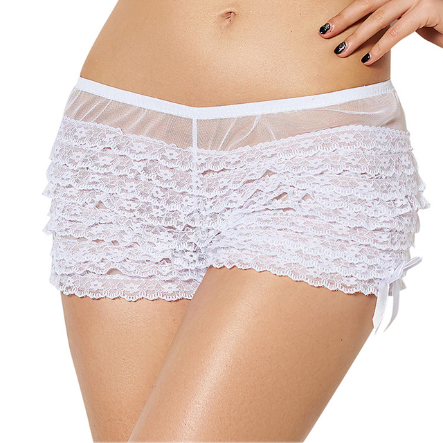 2f94a9160c30 Lace Boyshort Panties Large Size White Black Red Boyshorts Women Underwear  Floral Layering Nice Sexy Panties Laides Briefs W5077