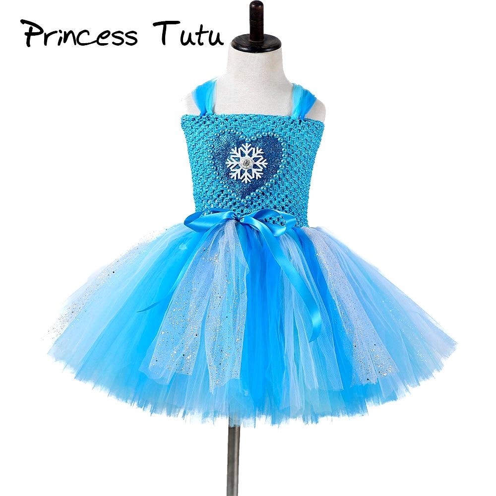 Princess Girl Elsa Tutu Dress Children Knee Length Birthday Party Sparkle Snowflake Tulle Tutu Dresses Kids Christmas Costume tulle trim layered knee length tee dress