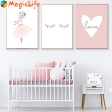 Cute Kids Decor Wall Art Canvas Painting Pink Girl Nordic Minimalist Poster Pictures love Prints Decorative Picture