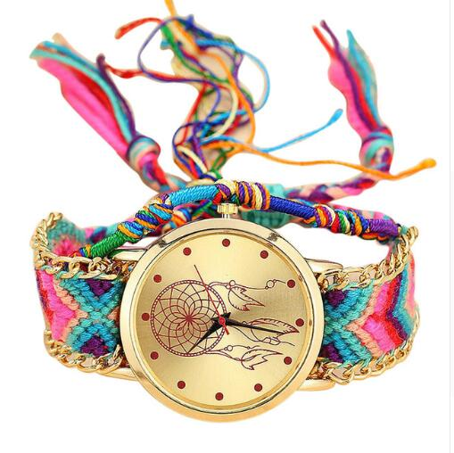 Dropshipping Handmade Braided Dreamcatcher Friendship Bracelet Watch Ladies Rope Watch Quarzt Watches Relogio Feminino 2019