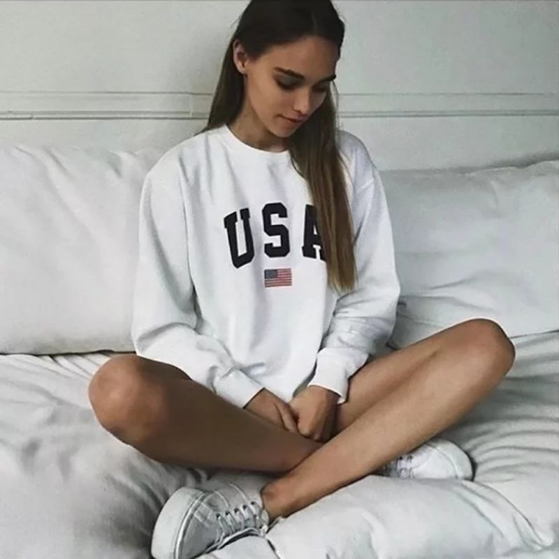 Women USA Letter Printed White Sweatshirt 2019 Long Sleeve O Neck Jumper Pullover Tops Autumn Winter Femme Loose Top
