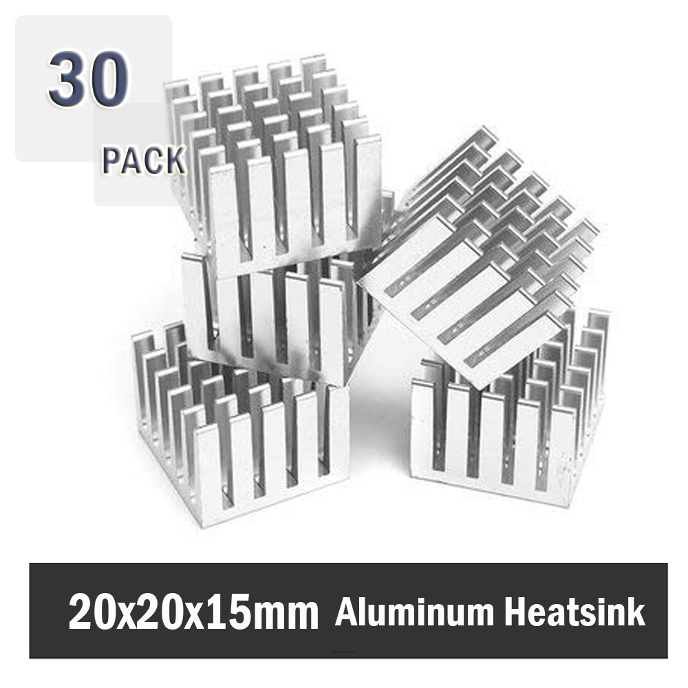 30Pcs Gdstime 20x20x15mm Aluminum Extruded Cooler Aluminum Heatsink 20mm X 15mm FOR IC PC CPU High Power LED