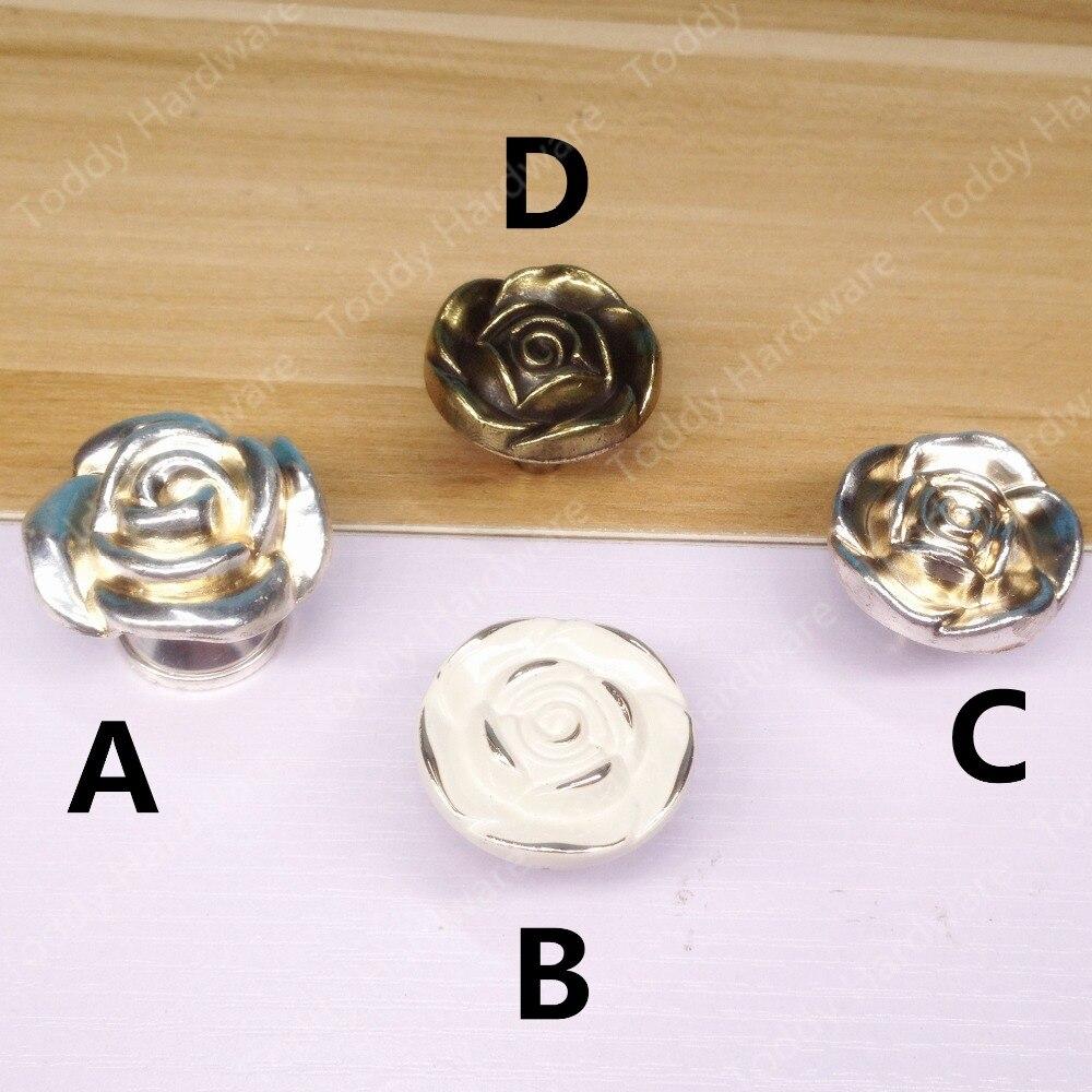 20 pcs Trou Simple Bouton Vintage Rose Europe Meubles Placard poignées de Tiroir boutons de Cabinet et poignées Tirez