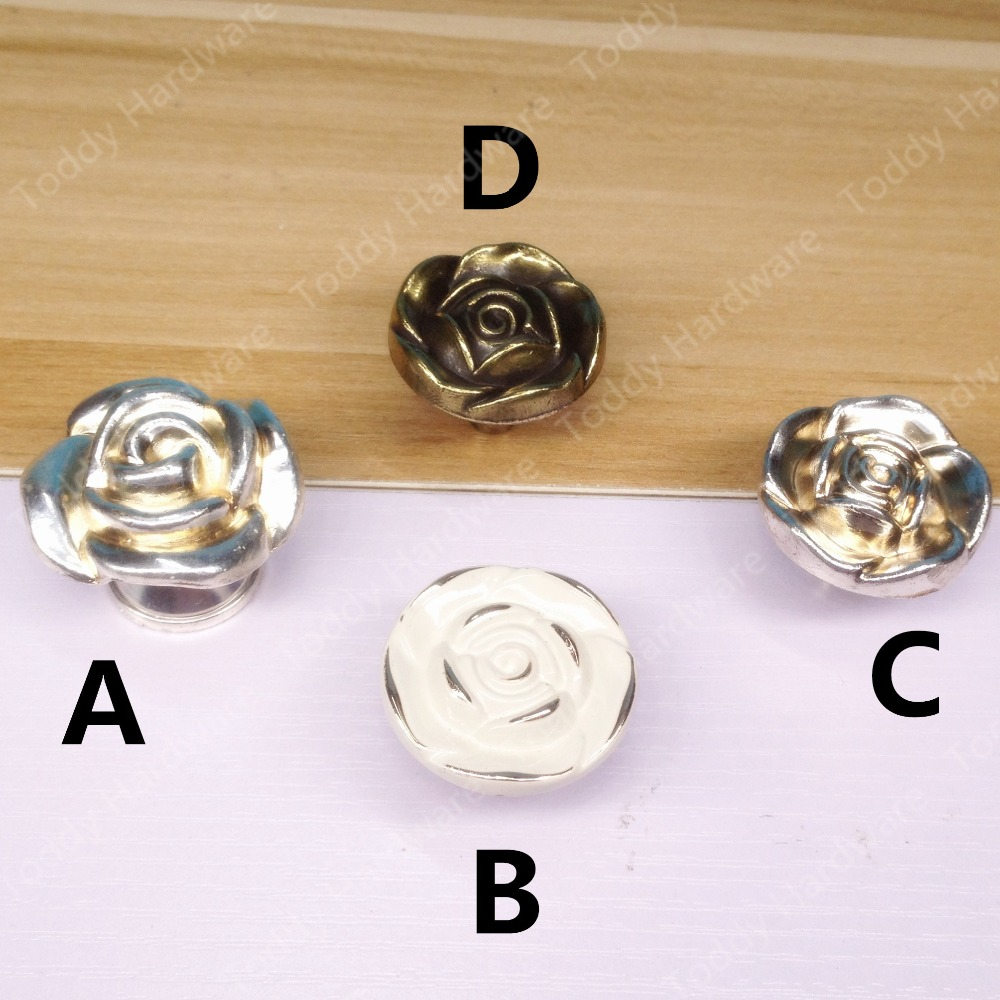20pcs Single Hole Knob Vintage Rose Europe Furniture Closet handles Drawer Cabinet knobs and handles Pull furniture drawer handles wardrobe door handle and knobs cabinet kitchen hardware pull gold silver long hole spacing c c 96 224mm
