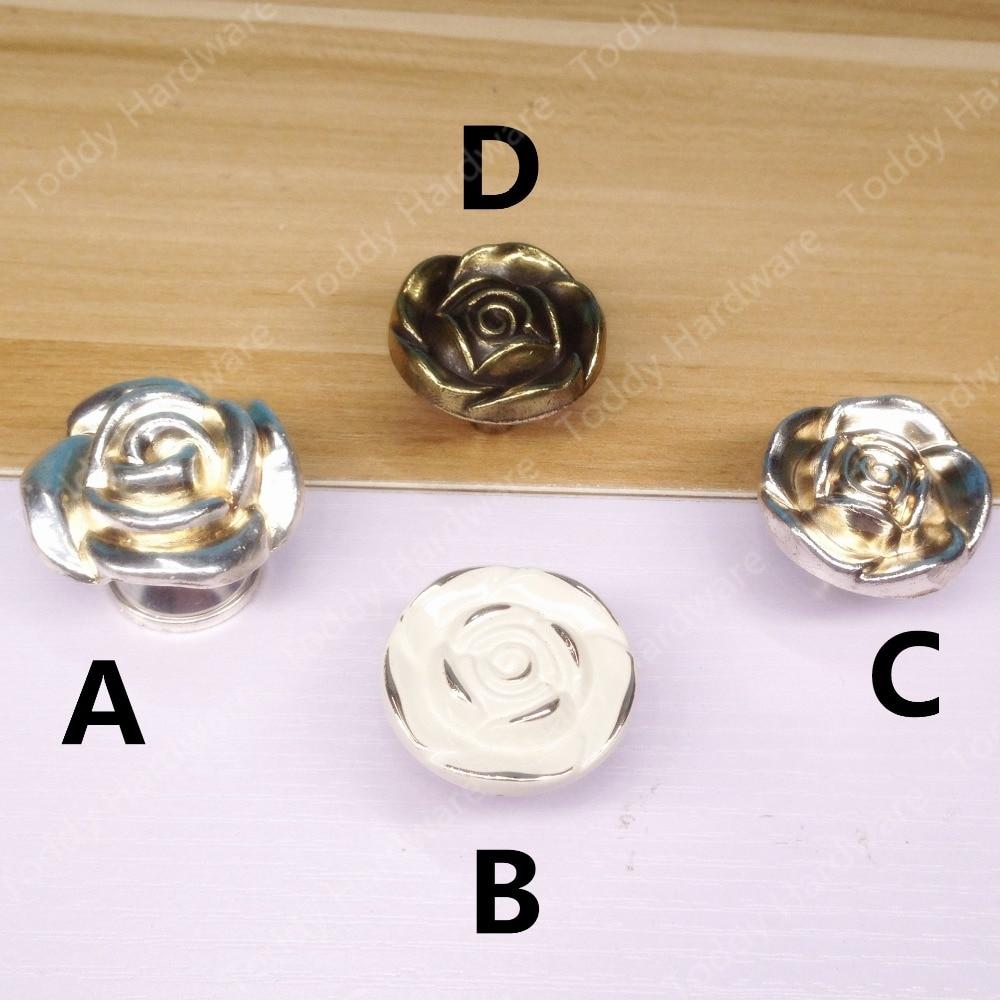 20pcs Single Hole Knob Vintage Rose Europe Furniture Closet handles Drawer Cabinet knobs and handles Pull