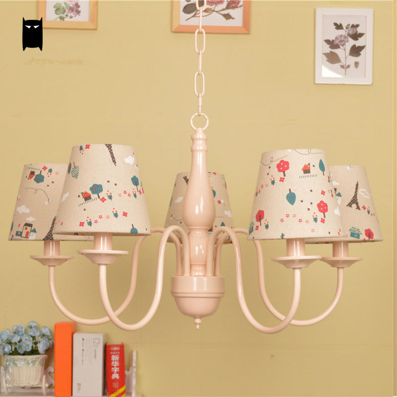 Colorful Shade Pink Pendant Light Fixture Art Deco Rustic Country Hanging Lamp Luminaria Lustre Avize Princess Children Bedroom