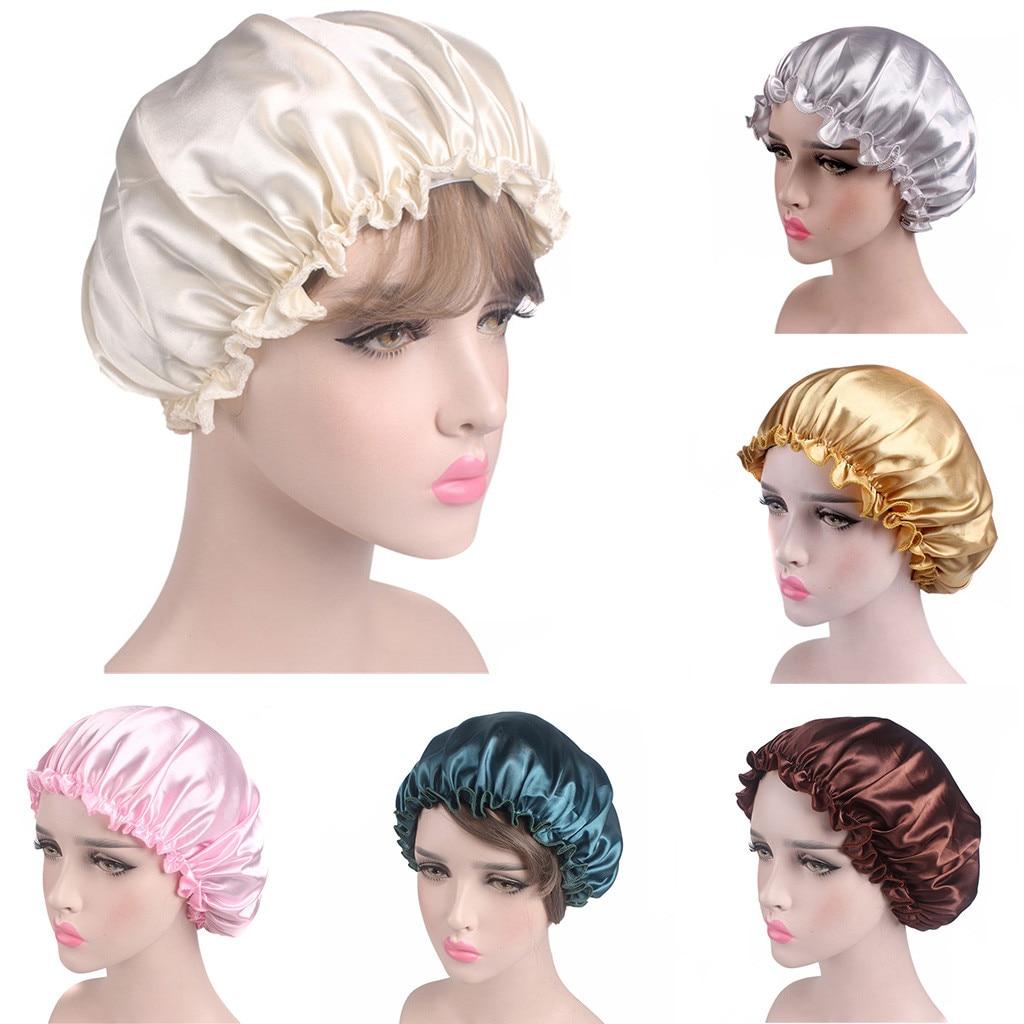 New Long Hair Care Women Fashion Satin Bonnet Cap Night Sleep Hat Silk Cap Head Wrap womens   beanie   hats Dropshipping #L20