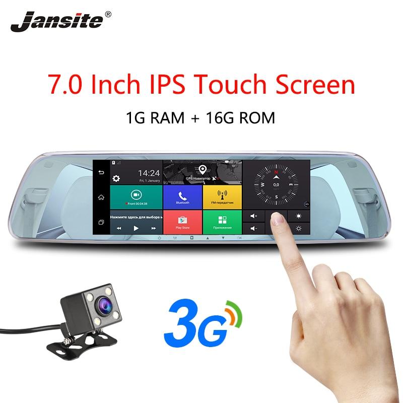 Jansite 3g 7 Écran Tactile Dash Cam Android 5.0 Voiture DVR GPS Navigation Voiture Enregistreur Vidéo image Inversée arrière vue Caméra Miroir