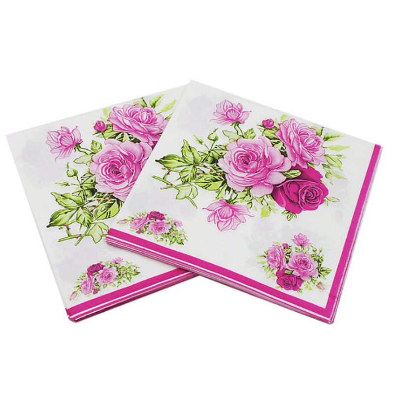 2018 20pcs / pack Table Napkin Beauty Printed Tissue Feature Decoration Pink Paper Napkins For Event & Party 33cm * 33cm