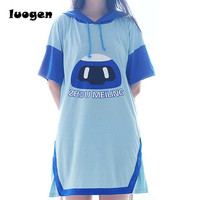 Summer Hooded Hoodie Dress Girls Short Sleeve Mei Frozen Robot Casual Dress Anime Cosplay Cute Short