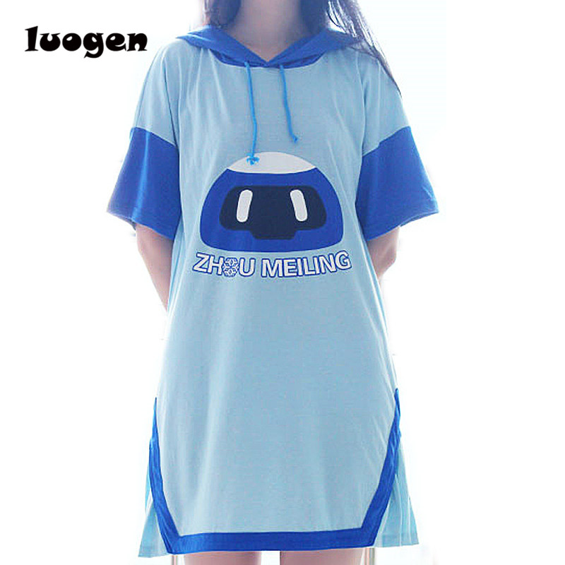 Summer Hooded Hoodie Dress Girls Short Sleeve Mei Frozen Robot Casual Dress Anime Cosplay Cute Short Dress Comfortable Dresses