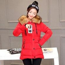 Новые женщины зимние пальто 6 цвета хлопка с капюшоном сгущает меховым воротником пальто мода персонализированный дизайн теплый корейской версии куртки