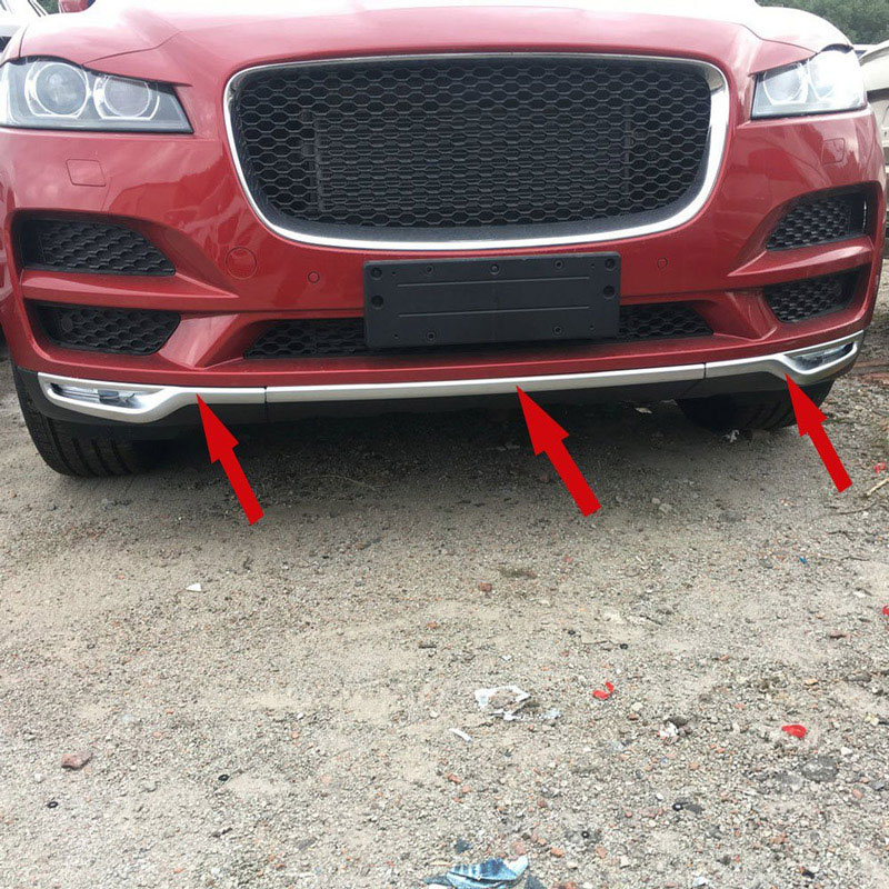 For Jaguar F-Pace F Pace Prestige Premuim 2016 2017 2018 Car-styling ABS Matte Chrome Front Grill Bumper Cover Trim Set of 3pcs front grille led emblem logo light 4 colors abs decorative grill lamp for f ord r anger t7 2016 2017 car styling