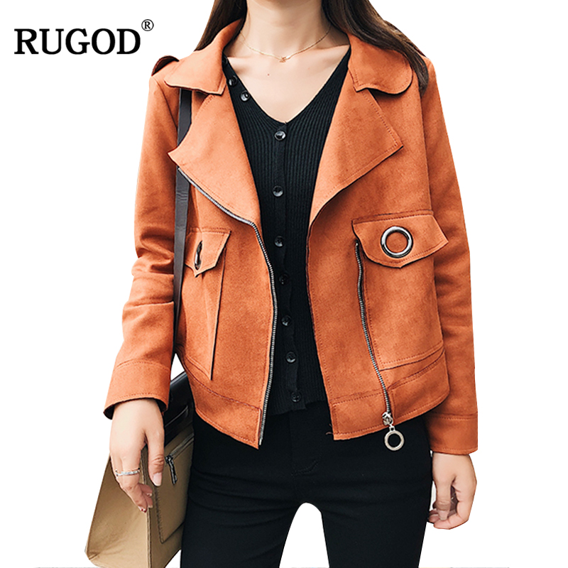 RUGOD Ladies Faux Suede   Basic     Jackets   High Street Zipper Lapel Slim Coats Casual Solid Women Leather Bomber   Jacket   Oversocats