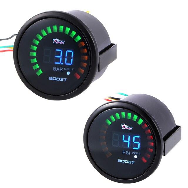 """2 """"52mm Universal Auto Car Turbo Boost Medidor de Volts PSI/Bar Medidor Digital Blue LED BI522/523"""