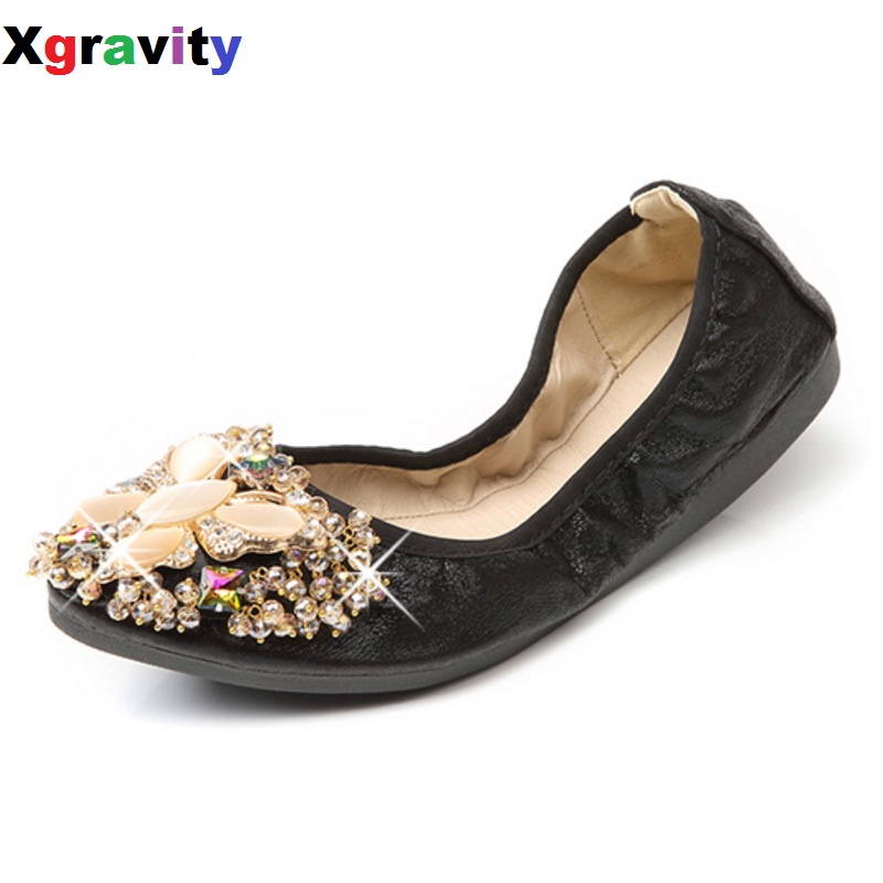 Xgravity Crystal Flats Luxury Ballet Flat Shoes  Rhinestone Women Spring Autumn Butterfly Pointed Toe Golden Shoes Loafers C227 slhjc 2017 autumn flat heel shoes pointed toe women flats with metal chain real fur loafers work shoes d25