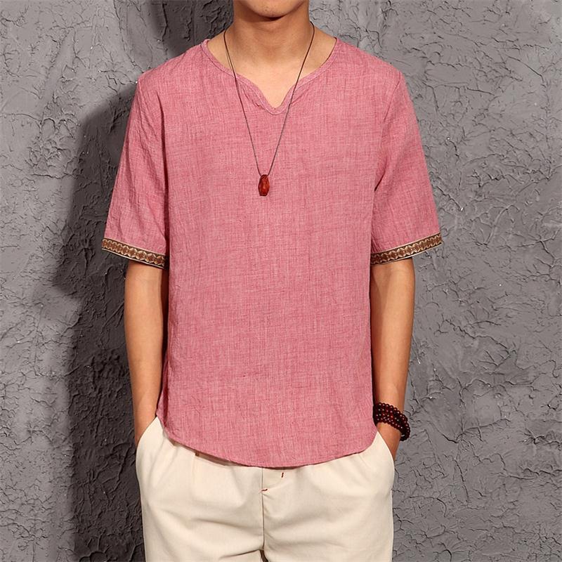 Men's Embroidered Trim Linen T-Shirt 3