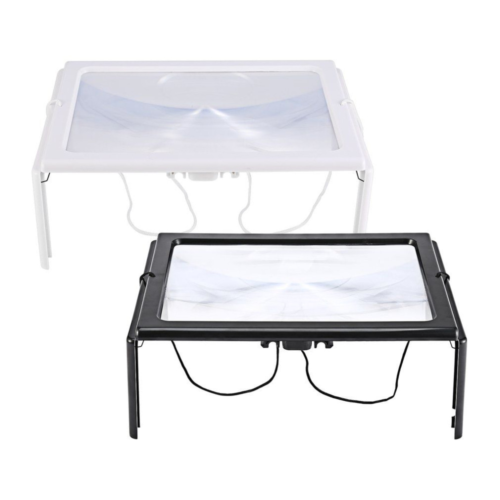 Ultra-thin A4 3X Full Page Large PVC Magnifier Giant Desk Foldable Magnifying Glass with 4 LED Light for Reading Sewing Knitting eemrke cob angel eyes drl for kia sportage 2008 2012 h11 30w bulbs led fog lights daytime running lights tagfahrlicht kits page 5