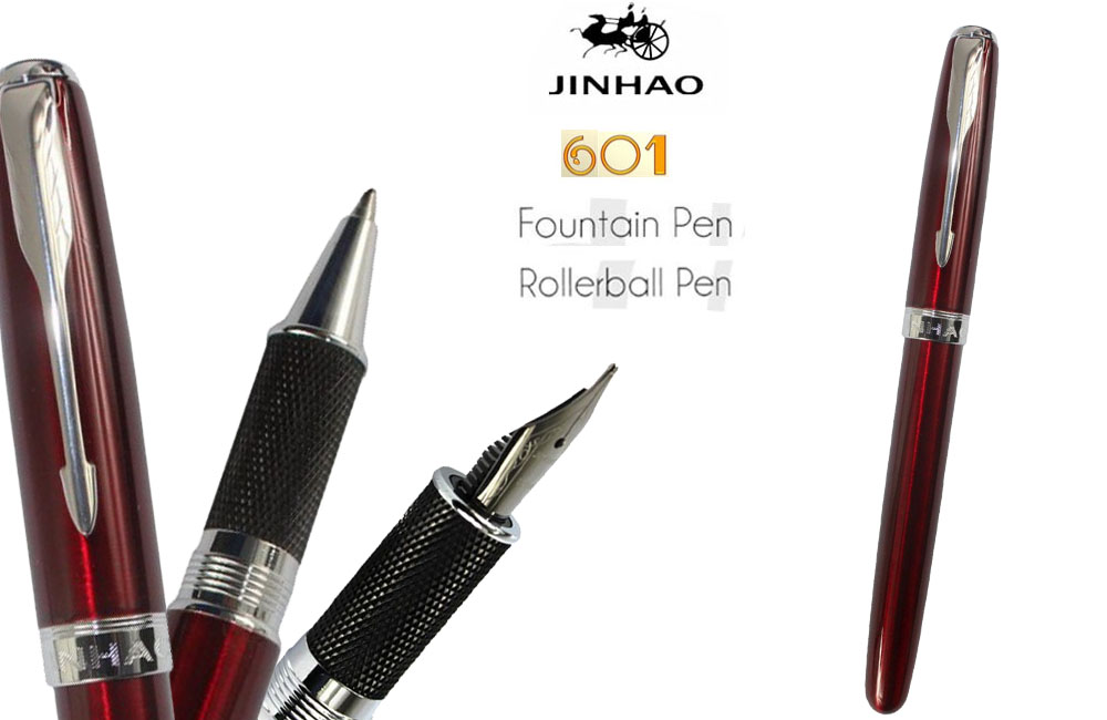 Roller Ball pen or Fountain pens  Burgundy J601 Signature pens The best gifts wholesale 2 pcs/lot  FREE SHIPPING-Insured fountain pen m nib hero 1508 dragon clip signature pens the best gifts free shipping