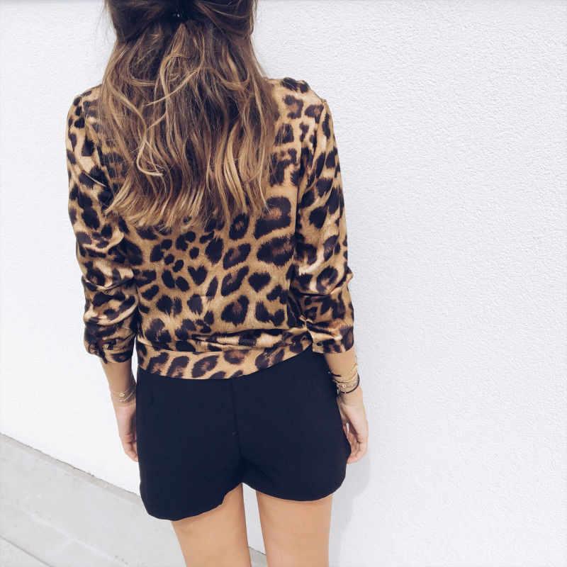 2019 แฟชั่นสตรีเสือดาว V คอเสื้อ Bodycon ต่ำตัดเสื้อแขนยาวเสื้อเซ็กซี่ฤดูใบไม้ร่วงเสื้อ blusas mujer de moda