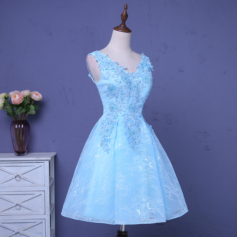 Bridesmaid     Dresses   Pretty Lace Women Elegant V Neck Sky Blue Beads Sleeveless 2019 Wedding Party   Dress