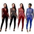 2016 новый дизайн детский комбинезон женщины комбинезон твердые bodycon бинты комбинезон повседневная одежда женщин плюс размер XJ2142