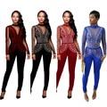2016 novo projeto rompers mulheres jumpsuit sólidos bodycon bandage jumpsuit mulheres casuais roupas plus size XJ2142